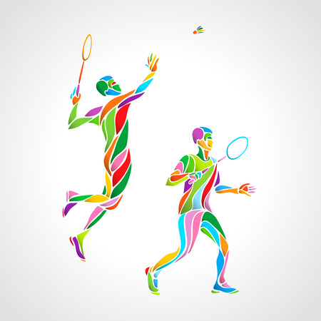 Abstract mens doubles badminton players color vector eps10