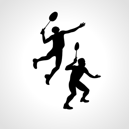 Mens doubles badminton players. Vector illustration Vettoriali