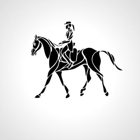 Carrera de caballos. Deporte ecuestre. Silueta de carreras con jockey