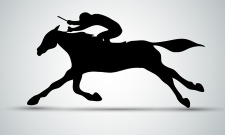 Horse race. Equestrian sport. Silhouette of racing horse with jockey on isolated background. Horse and rider. Racing horse and jockey silhouette. Derby. Eps 10 Stok Fotoğraf - 104174359