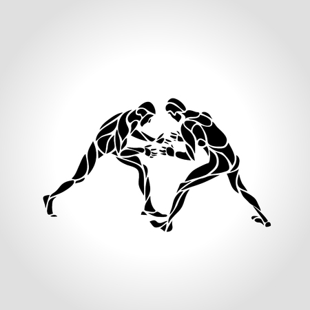 Illustration of greco roman wrestlers, fighting game. Vector Black and White Freestyle Wrestling creative Illustration