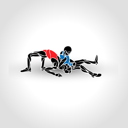 Greco roman sport, fighting game. Vector Black and White Freestyle Wrestling Illustration