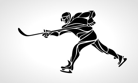Hockey player abstract silhouette Ilustracja