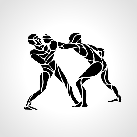 Boxing Fighters Abstract Silhouettes. Zdjęcie Seryjne