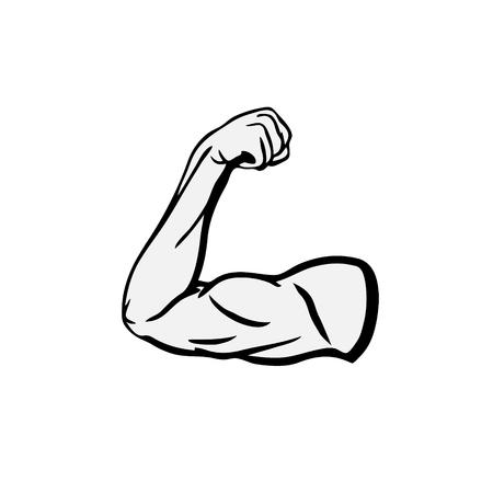 Fuerte, culturista, bíceps, flexión, brazo, icono