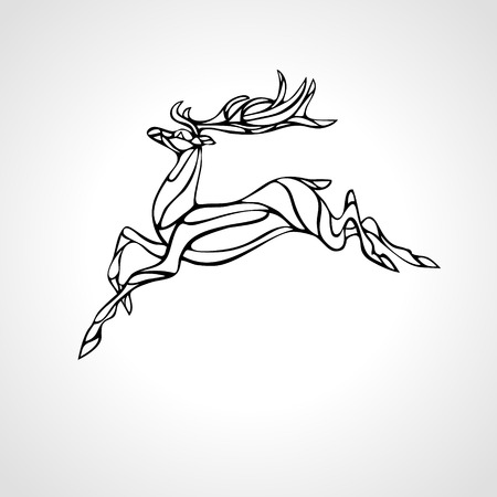 Creative deer black outline curved silhouette
