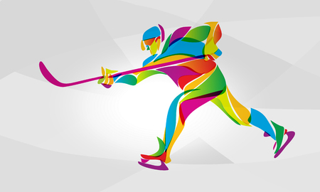 Hockey player abstract color silhouette Ilustracja