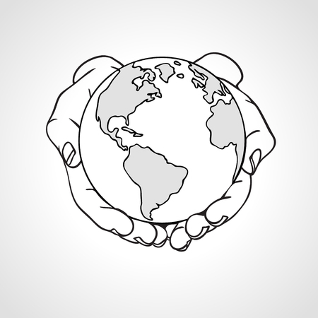 Hands holding the Earth. Two palms hold the globe. Environment concept.