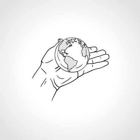 Hands holding the Earth. Palm hold the globe. Environment concept. Zdjęcie Seryjne