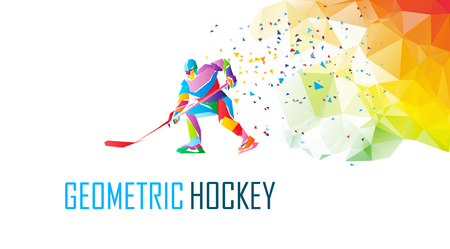 Hockey player, geometric polygonal illustration. Ilustracja