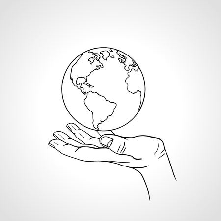 Hand holding the Earth. Palm hold the globe. Environment concept.