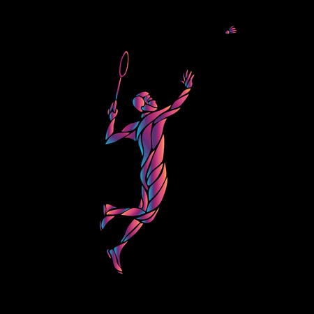 Silhouette of abstract badminton player on black background
