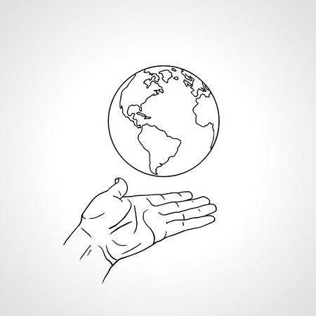 Earth in hand in retro style. Palm hold the globe. Environment concept. Vintage hand drawn sketch vector illustration white background.