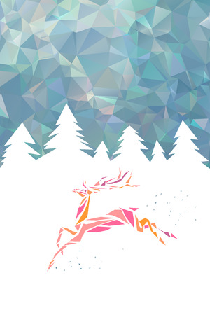 Christmas card with geometric abstract deer vector illustration