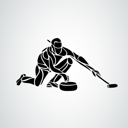 Silhouette Curling athlete isolated icon. Winter sport games discipline. Black and white woman curler design vector illustration. Web pictogram icon symbol for infographics on white background