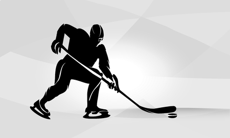 Hockey player abstract silhouette illustration