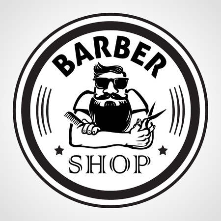 Barber shop round label, badge, or emblem.