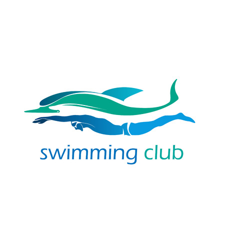 Swimming club icon with ocean sea color swimmer label