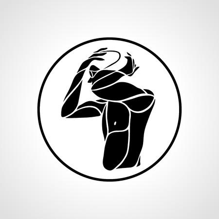 Icona di nuotata. Sagoma creativa dell'emblema del torso del nuotatore