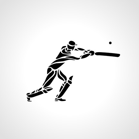 Batsman playing cricket on a white background. Outline curved abstract silhouette of cricket player. Vector illustration