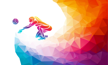 Creative silhouette of woman volleyball player receiving a ball. Side view. Beach sport, colorful vector illustration with background or banner template in trendy abstract colorful polygon geometric style and rainbow back
