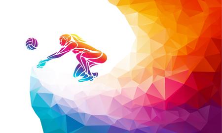 Silhouette créative de joueur de volley-ball femme recevant une balle. Vue de côté. Sport de plage, illustration vectorielle colorée avec arrière-plan ou modèle de bannière dans un style géométrique abstrait tendance polygone coloré et retour arc-en-ciel