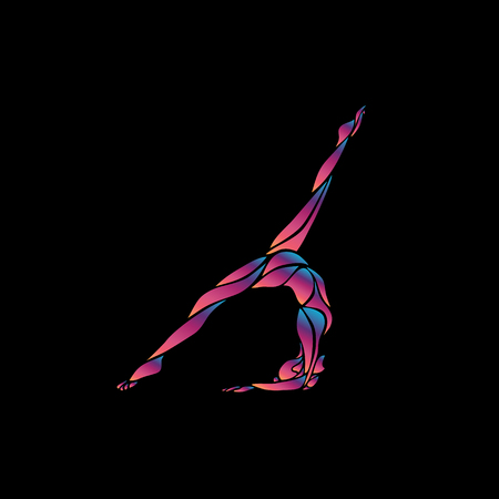 Creative silhouette of gymnastic girl. Art gymnastics woman, illustration or banner template in trendy abstract colorful neon fluid waves style on black background