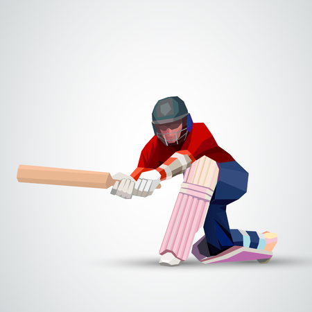 Abstract cricket player polygonal low poly illustration Ilustracja