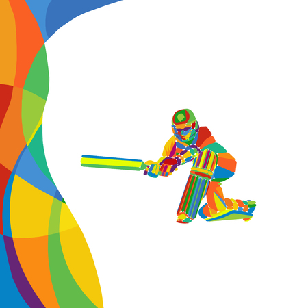 Abstract cricket player multi color bright illustration Ilustracja