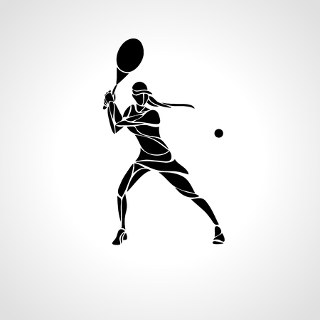 Tennis player female stylized abstract silhouette Ilustracja