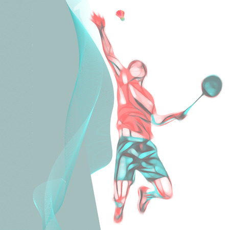 Abstract professional badminton player with space for flyer, poster, web, leaflet, magazine.