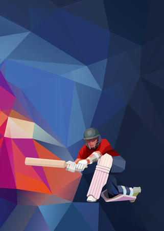 Abstract cricket player polygonal low poly illustration Zdjęcie Seryjne