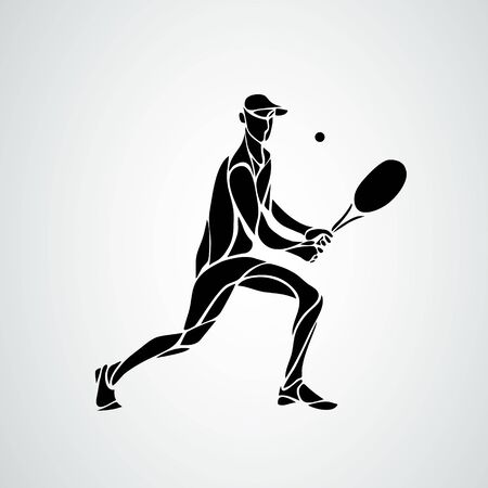 tennis player, black vector creative silhouette eps10 Ilustracja