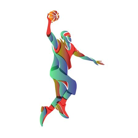 Basketball player jump shot. Vector color illustration