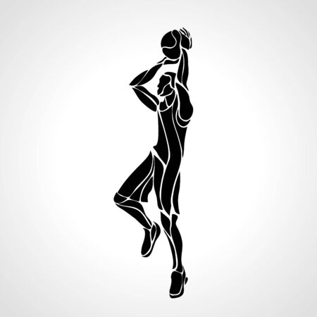 Basketball player. Slam Dunk black creative Silhouette
