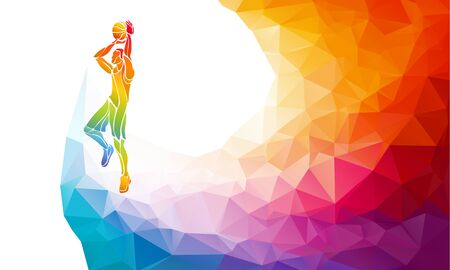 Polygonal geometric basketball player jump shot polygonal colors Ilustracja