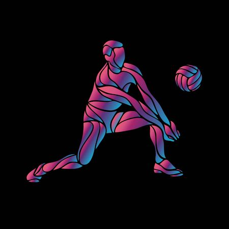 Volleyball player neon silhouette. Digger position. Eps8 Ilustracja