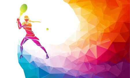 Creative silhouette of female tennis player. Racquet sport vector illustration or banner template in trendy abstract colorful polygon style with rainbow back