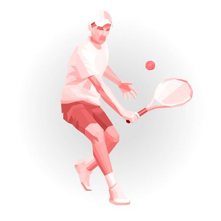 Tennis player, low poly color geometric vector illustration eps10. Polygonal geometric athelete. Raquet sport player recieving ball, red and white monochrome.