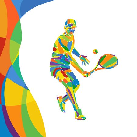 Multicolor abstract Professional Tennis player vector eps10