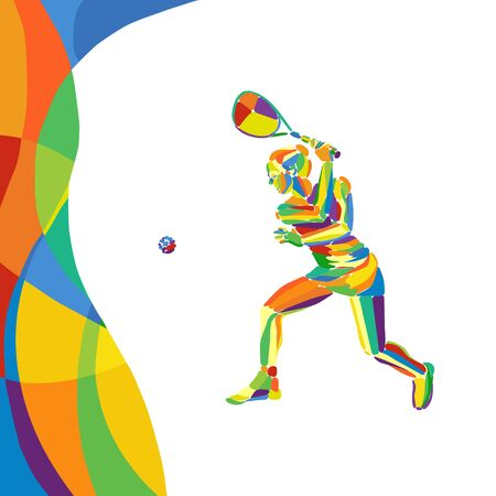 Woman squash player abstract colorful