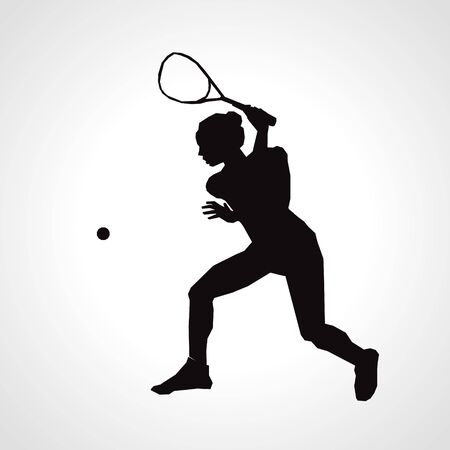 Female squash vector silhouette. Squash player hits the ball Ilustracja