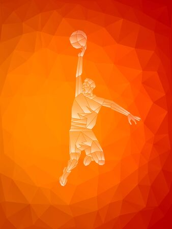 Polygonal geometric style illustration of a basketball player Ilustracja