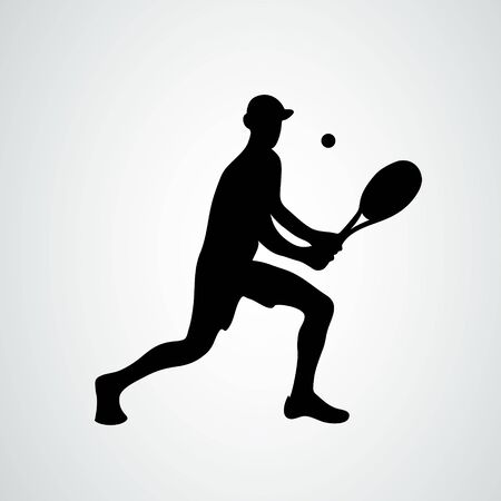 Vector tennis player. Black silhouette on white background Ilustracja