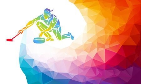 Polygonal geometric curling player vector illustration eps10 Ilustracja