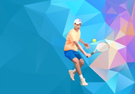 Tennis player triangle polygonal low poly vector illustration