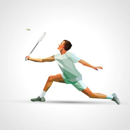Polygonal professional badminton player. Vector illustration eps