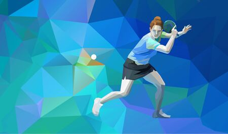 Table tennis player triangle polygonal low poly vector illustration
