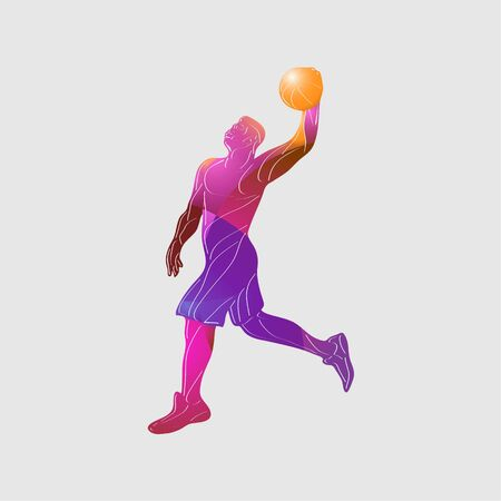 Basketball player Slam Dunk Color Vector Silhouette Ilustracja