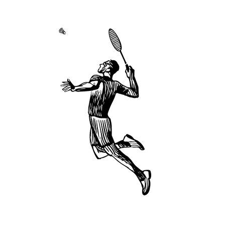 Creative sketch silhouette of badminton player. Vectoe Eps10 Vettoriali